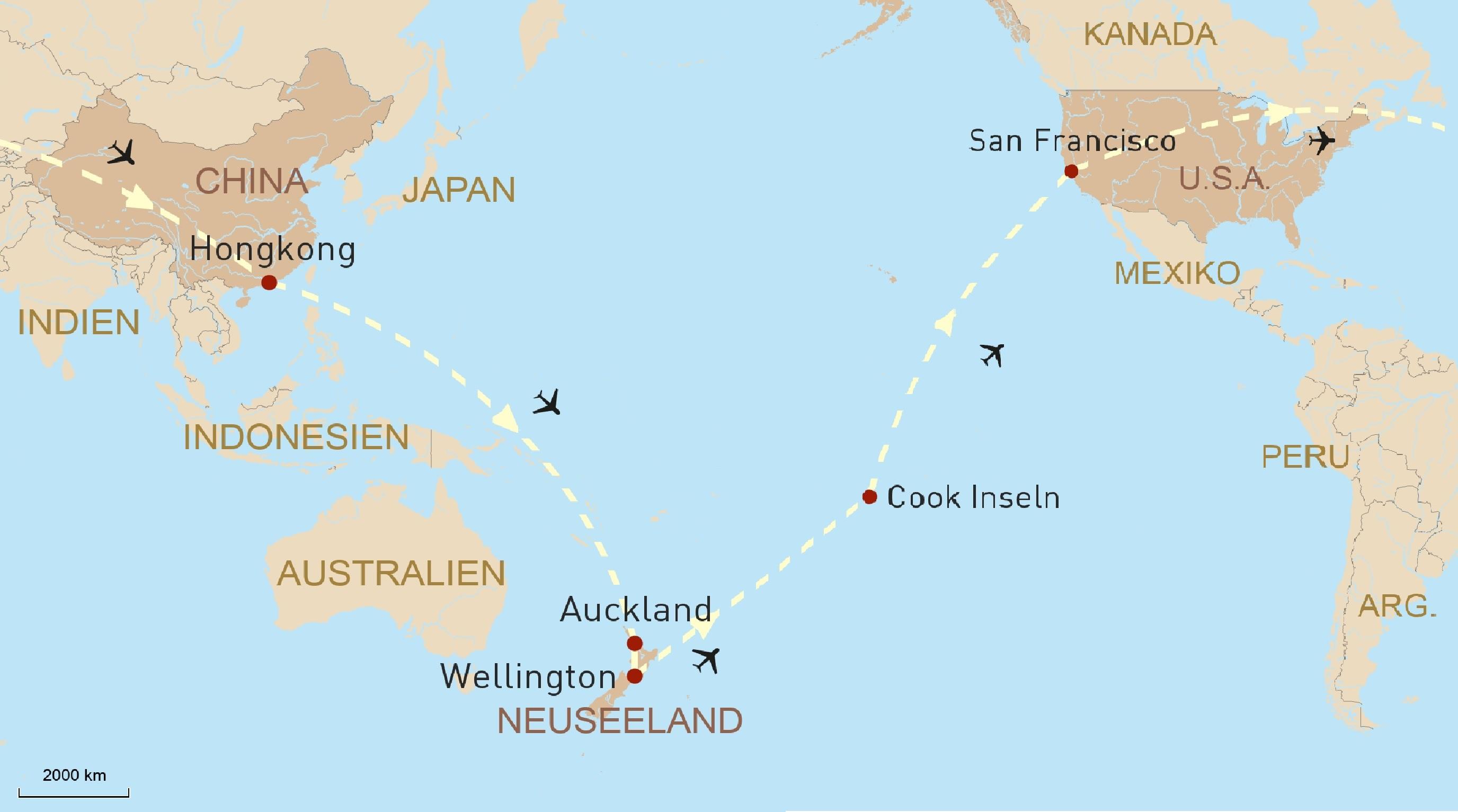 Hongkong, Neuseeland, San Francisco & Baden auf den Cook Inseln