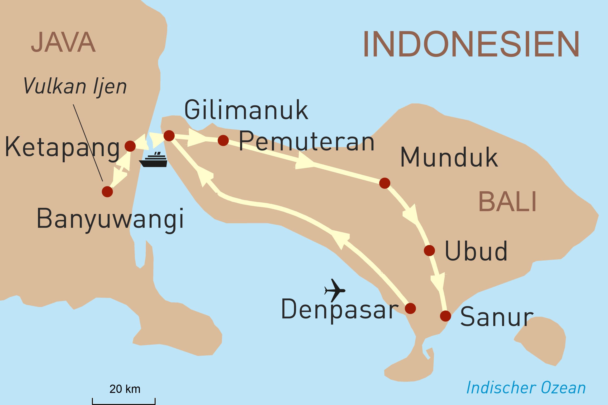 Karte zum Reiseverlauf Banyuwangi - Entdeckungen auf Balis Nachbarinsel Java