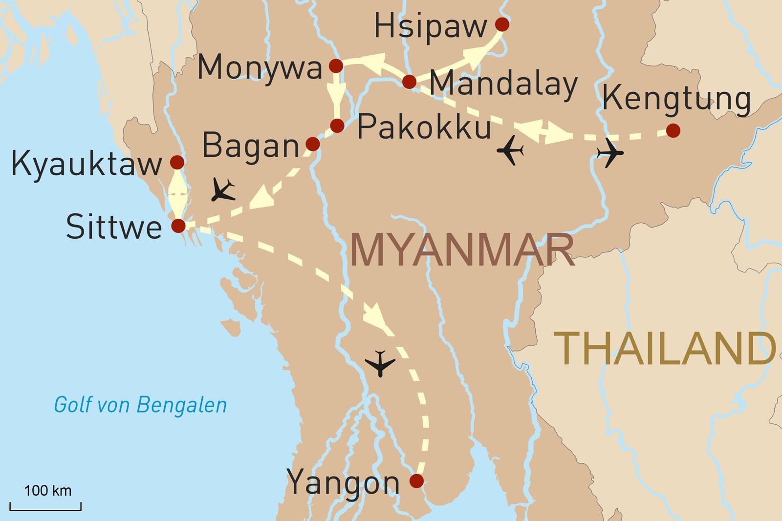 Myanmar auf den zweiten Blick - Karte