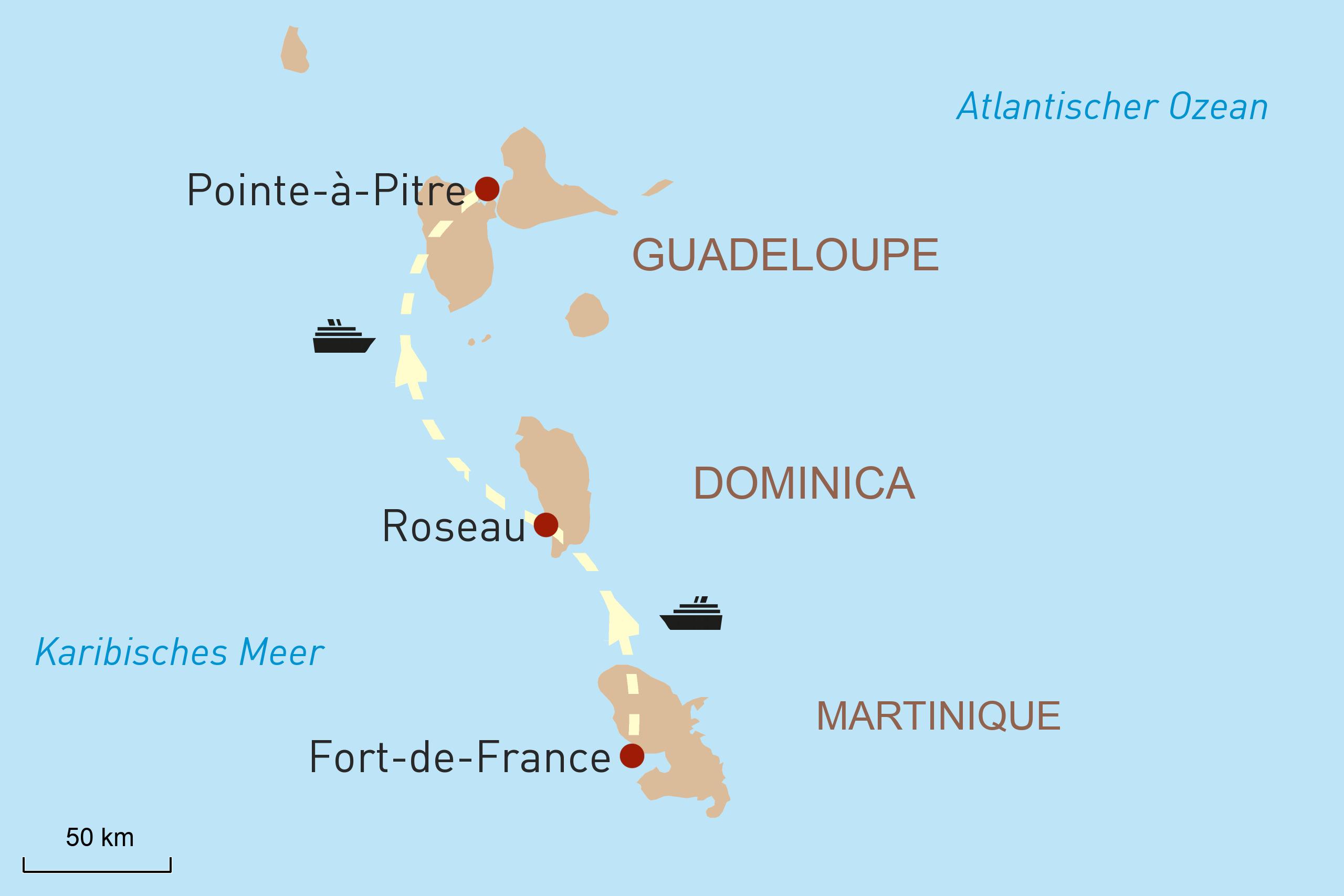 Karte für Reiseverlauf - Inselhuepfen in der Karibik