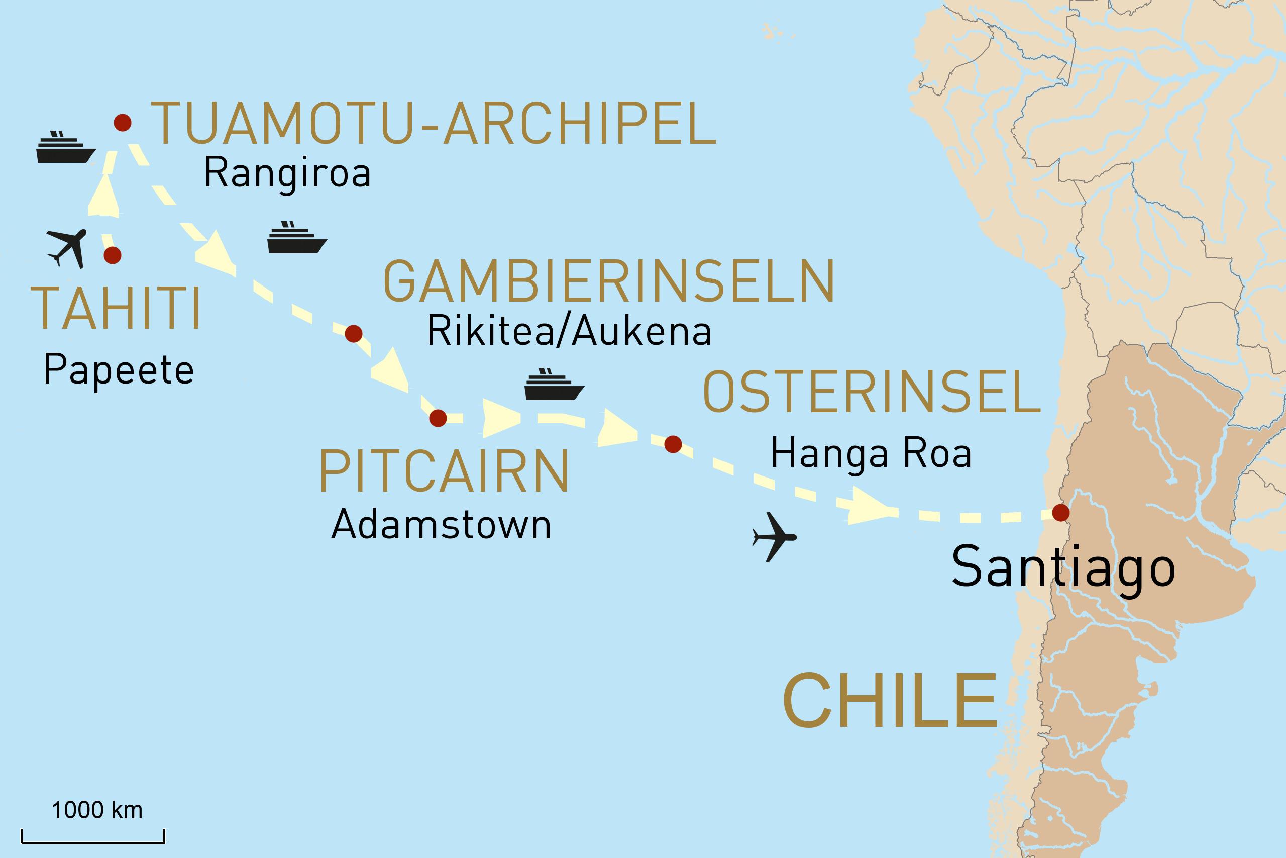 Karte zum Reiseverlauf Traumhafte Südsee & Geheimnisvolle Osterinsel