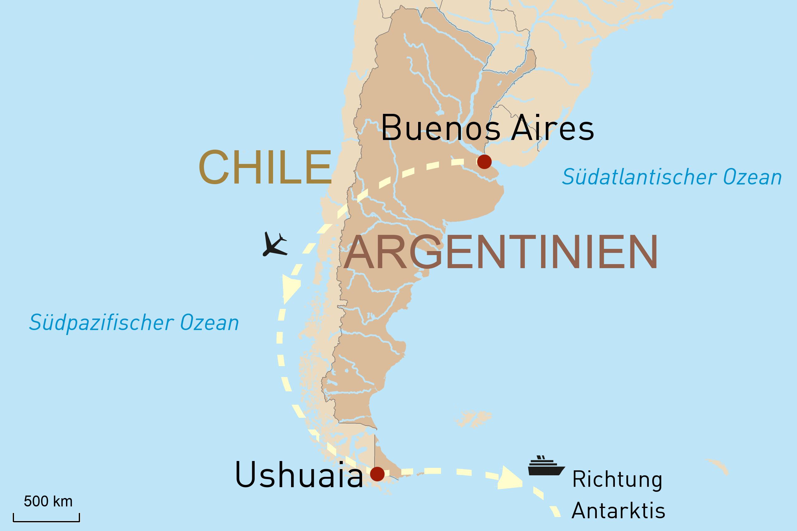 Karte Kreuzfahrt Antarktis - PONANT Yacht Cruises