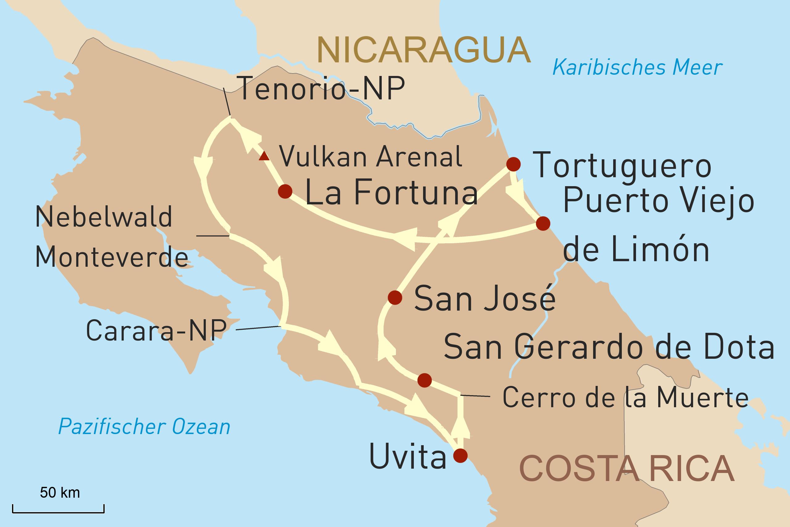 Karte für Reiseverlauf - Costa Rica mit dem Mietwagen entdecken