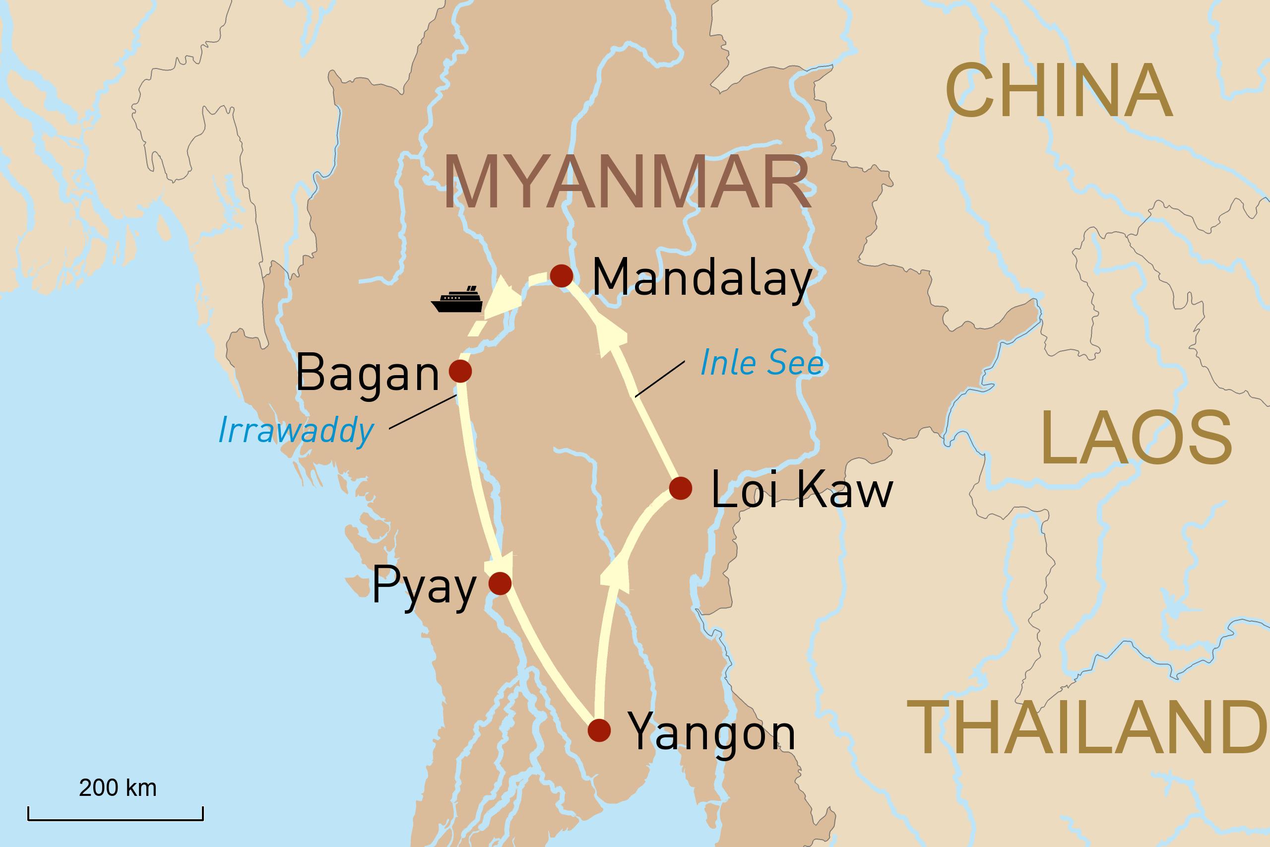 Karte Myanmar Überlandreise mit Luxusflusskreuzfahrt Irrawaddy