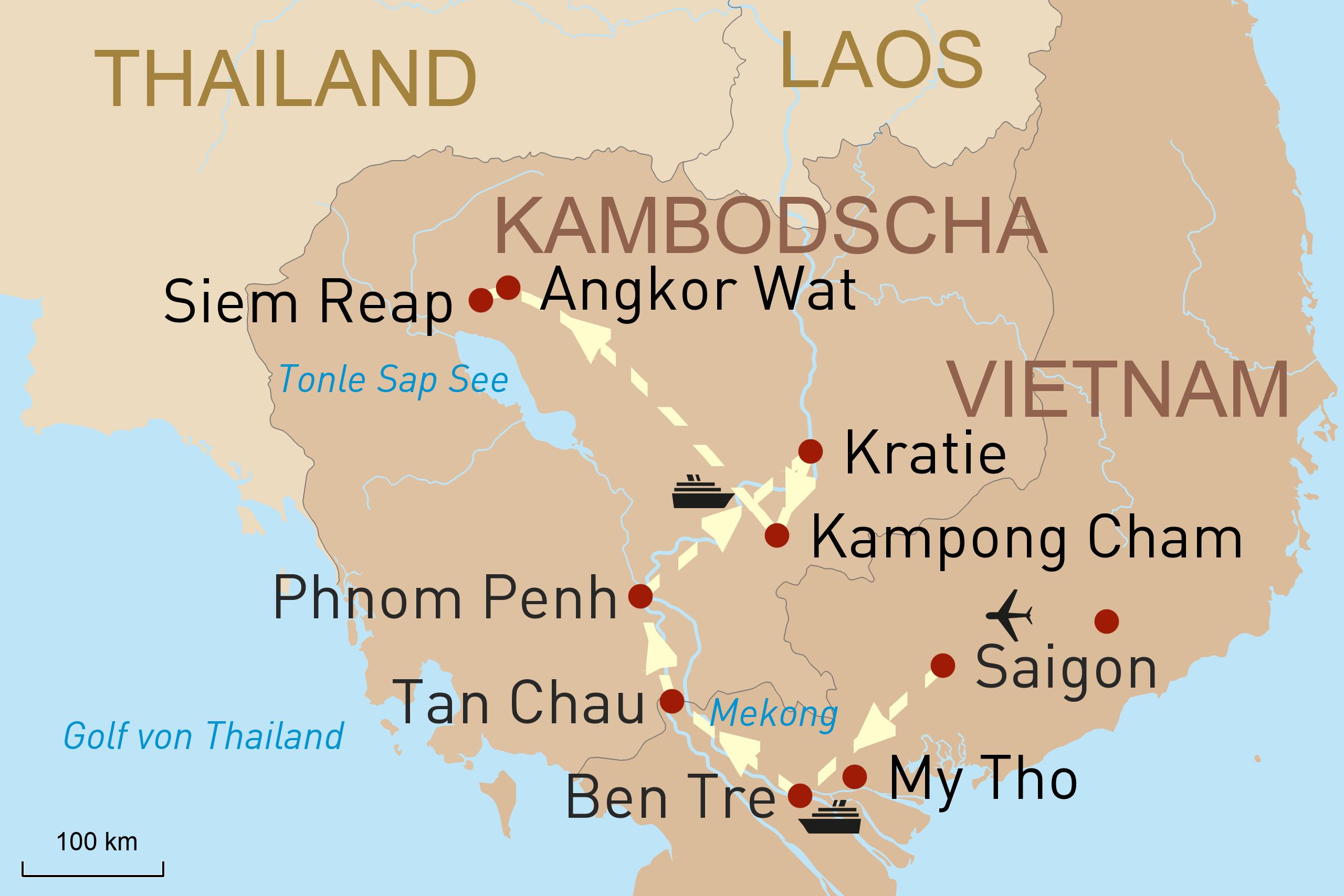 Landkarte - Flusskreuzfahrt Perlen des Mekong