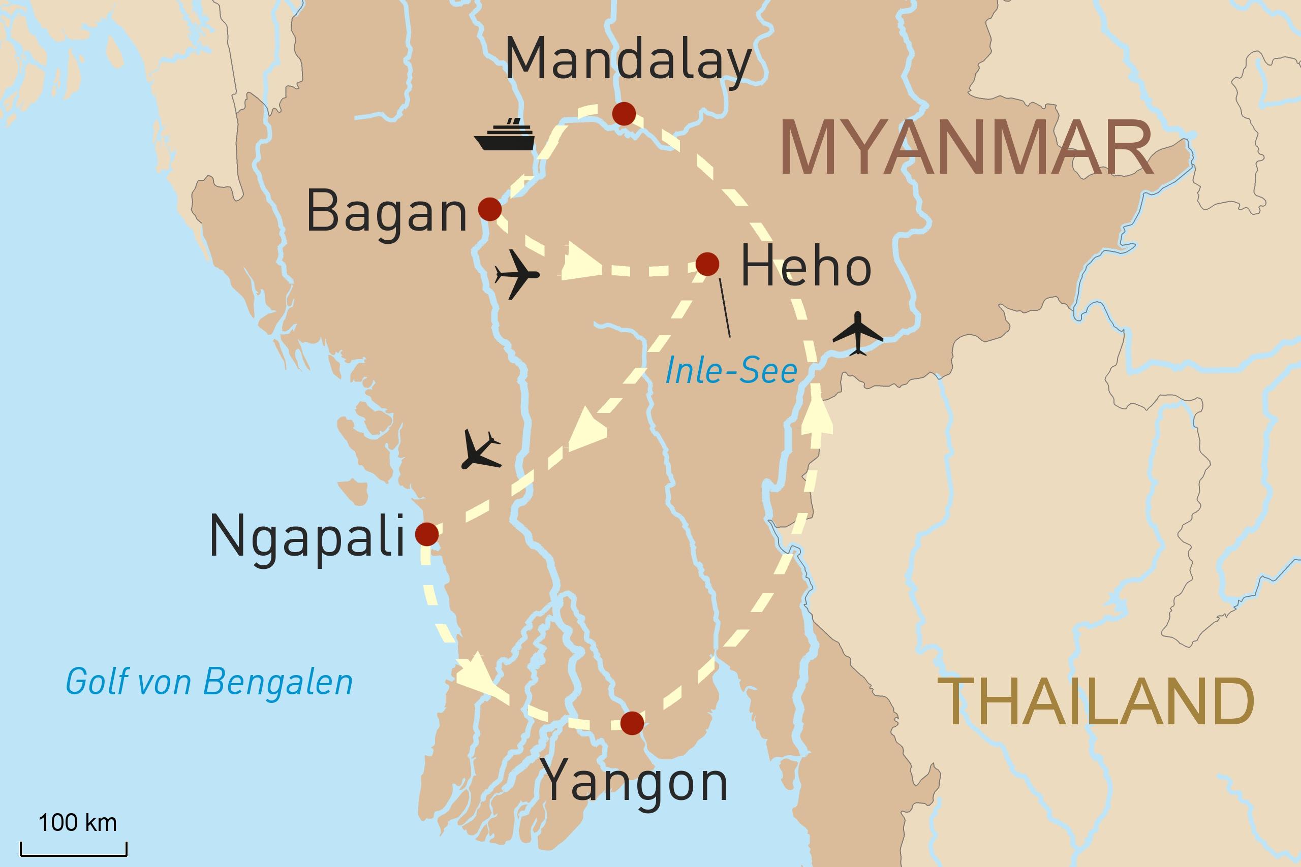 Myanmar - eine Reise durch das Goldene Land - Karte