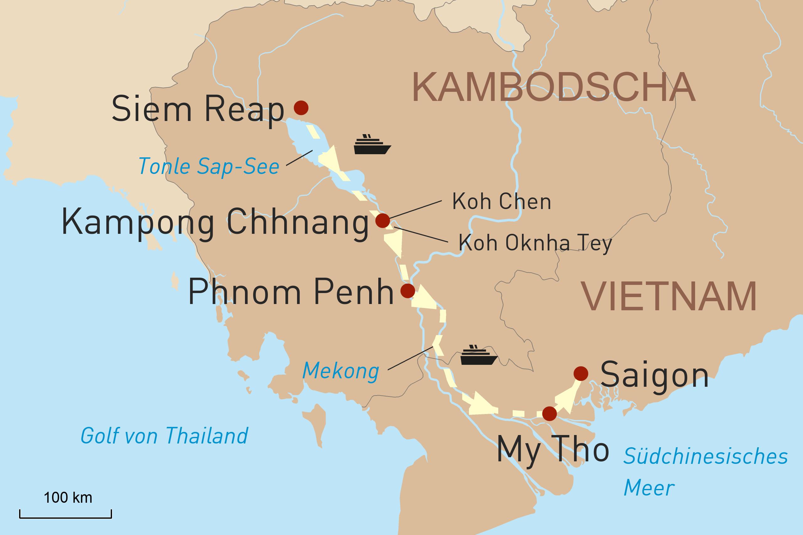 Luxusflusskreuzfahrt auf dem Mekong