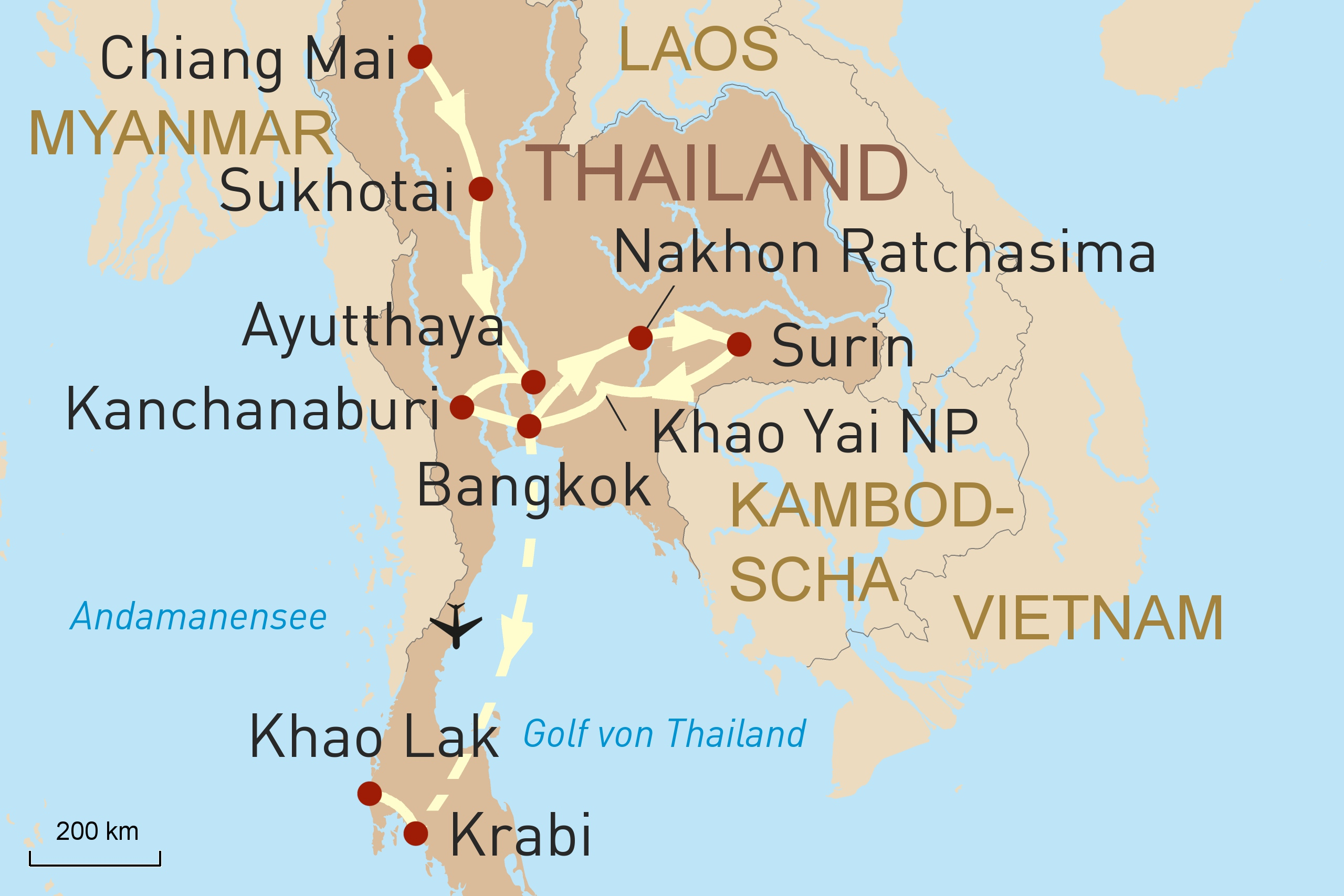 Thailand intensiv - Karte