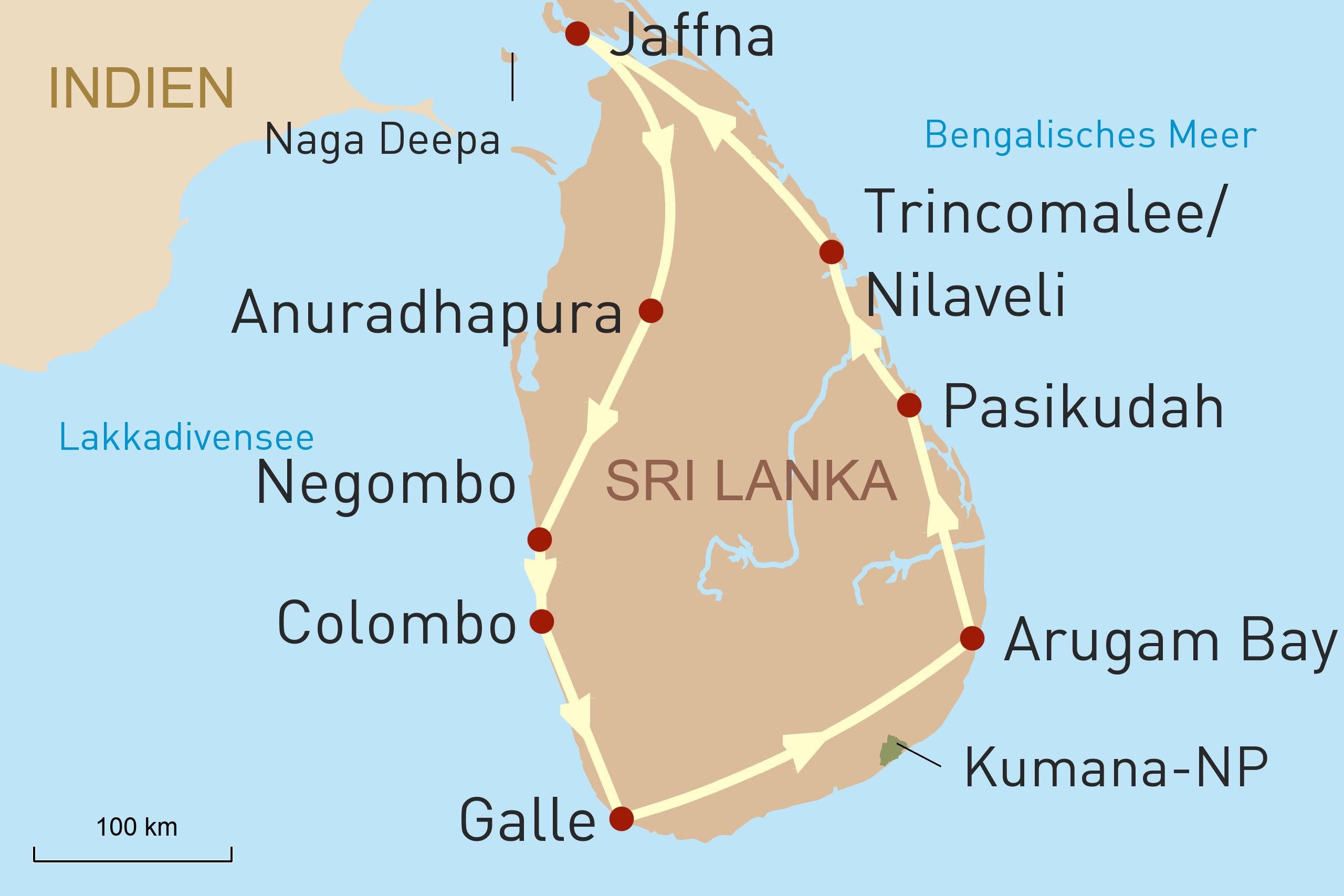 Entdeckungsreise durch den Osten und Norden Sri Lankas