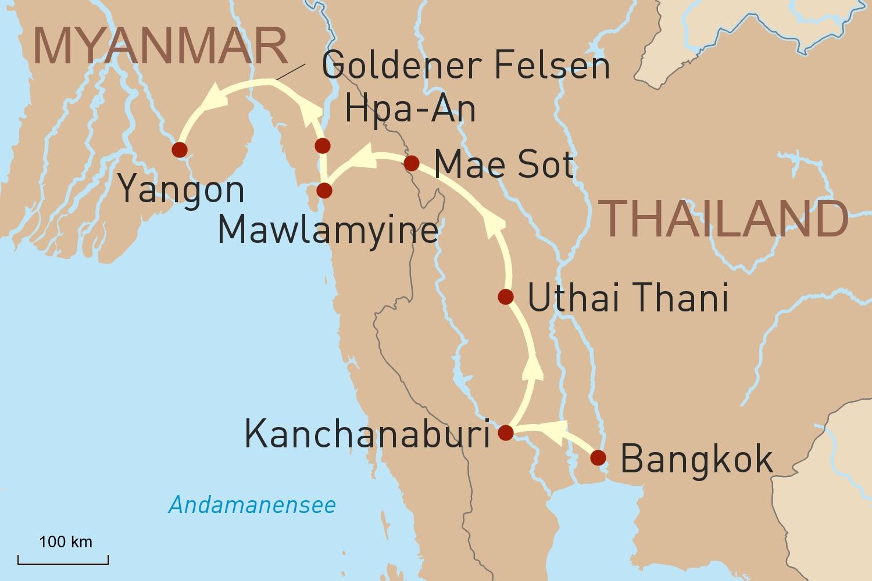 Thailand Myanmar Reise: Auf dem Landweg von Bangkok nach Yangon