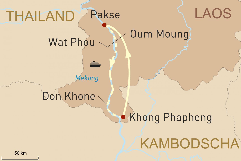 Mekong Flusskreuzfahrt in Laos auf der Vat Phou: Auf den Spuren von Francis Garnier
