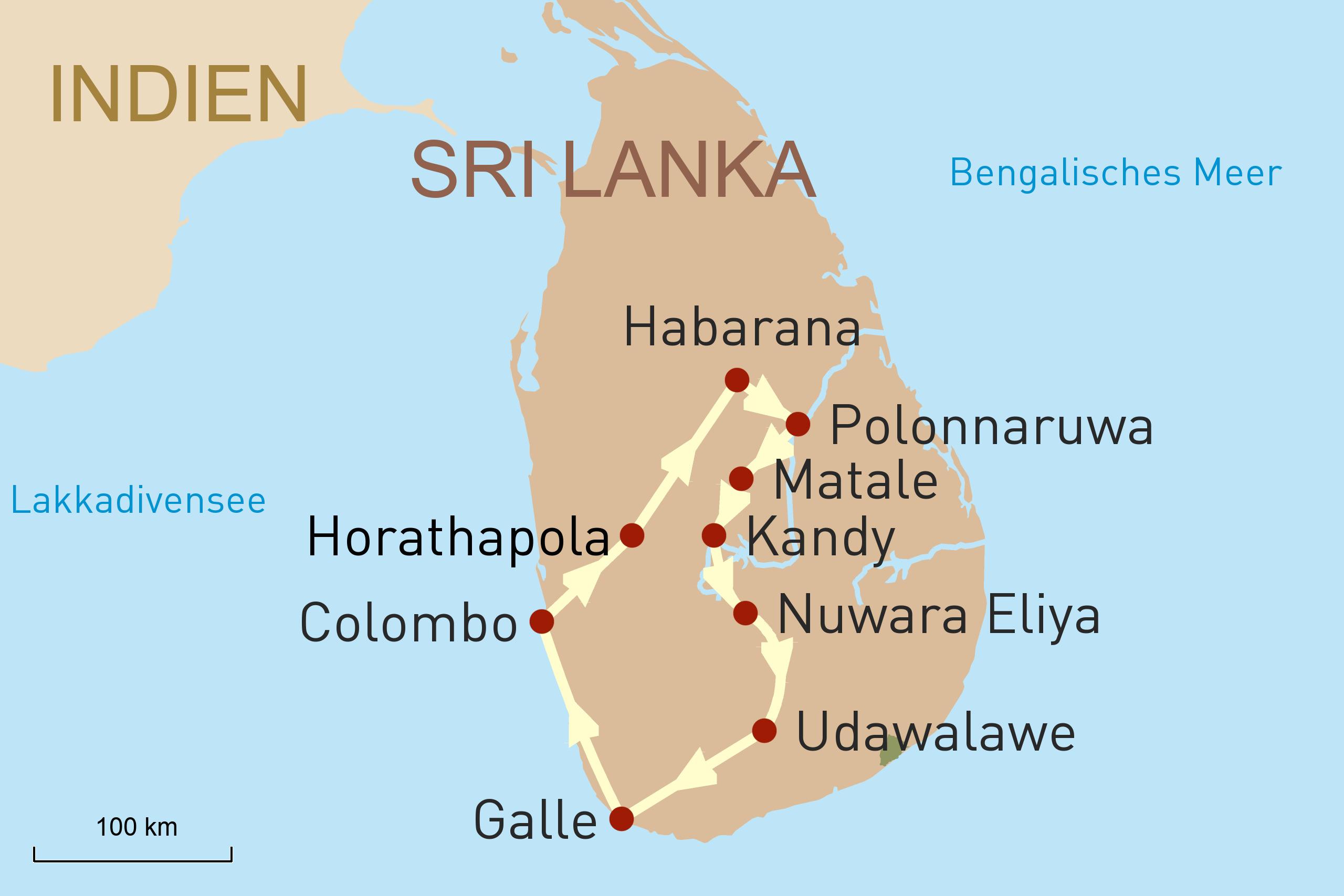 Authentisches Sri Lanka - Karte