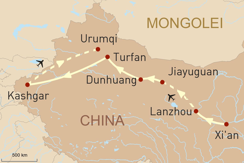 Reise entlang der chinesischen Seidenstraße