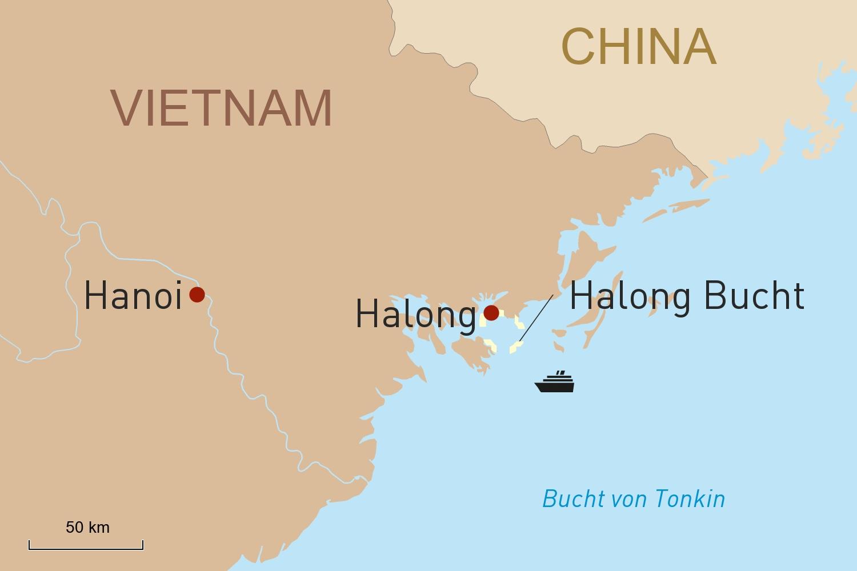 Erlebnis Halong-Bucht mit der Au Co