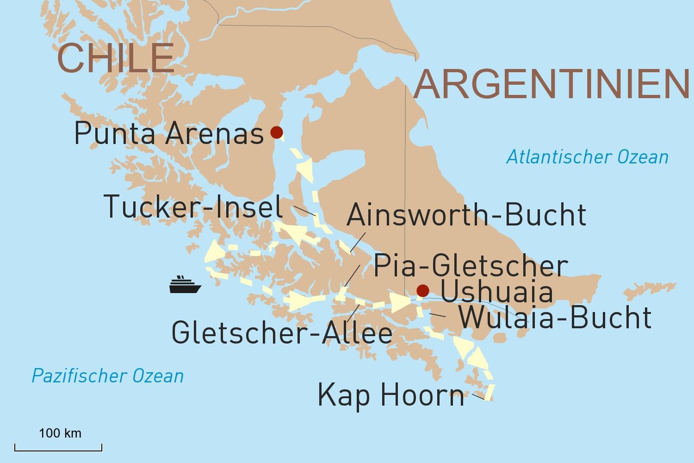 Expeditionskreuzfahrt durch Patagonien und Feuerland