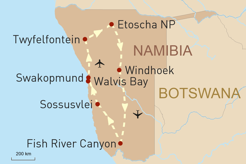 Flugsafari durch Namibia