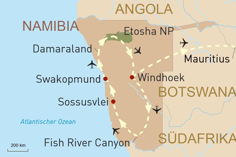 Flugsafari in Namibia & Baden auf Mauritius