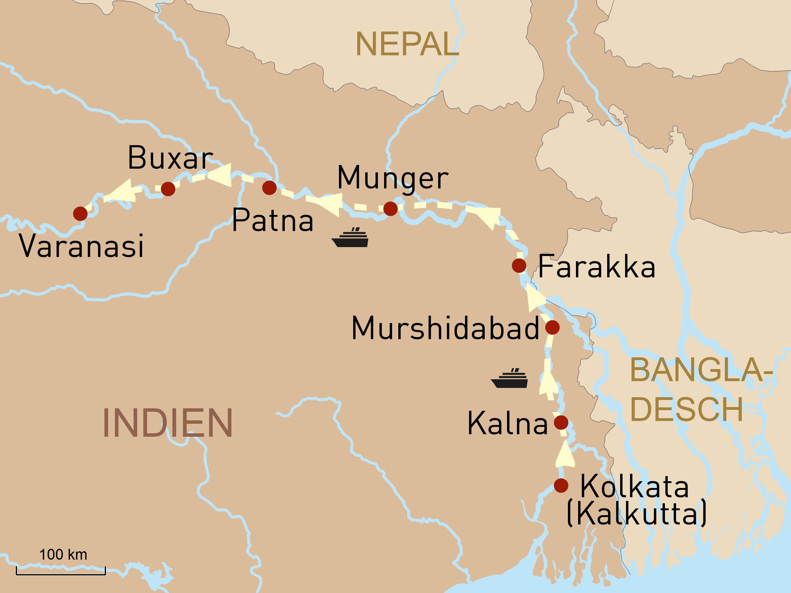 Flusskreuzfahrt auf dem Ganges
