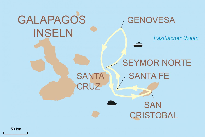Kreuzfahrt um die Galápagos Inseln