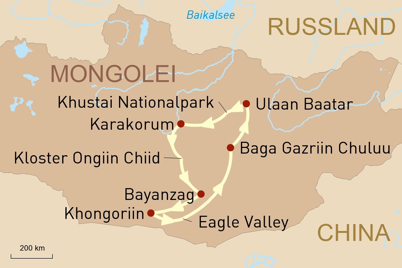 Reise zu den Höhepunkten der Mongolei