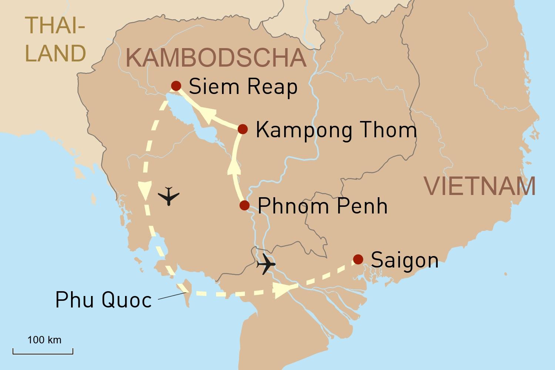 Höhepunkte Kambodschas und Baden auf Phu Quoc
