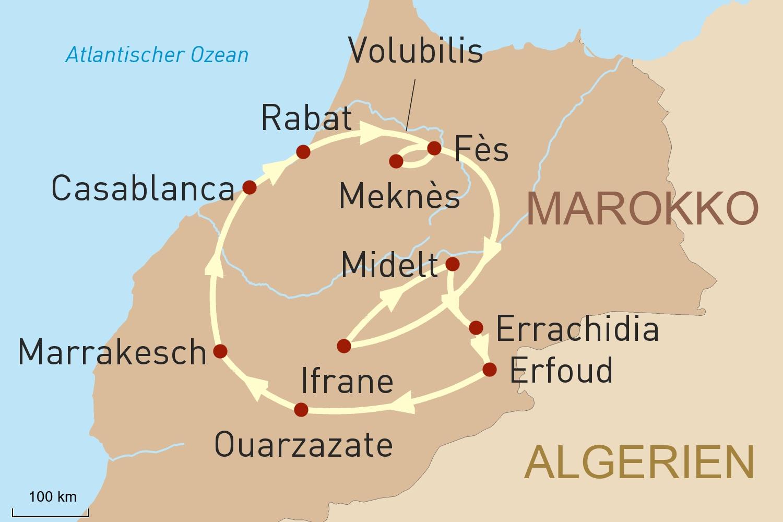 Reise zu den Höhepunkten Marokkos