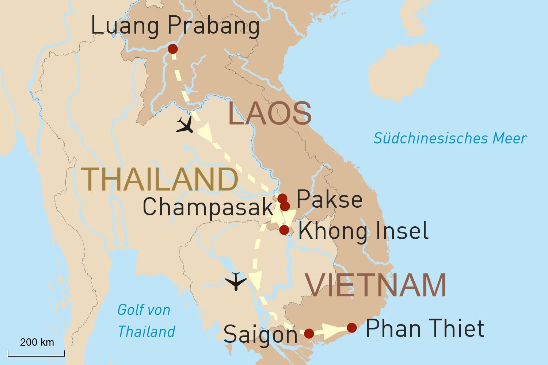 Höhepunkte von Laos und Entspannung in Vietnam