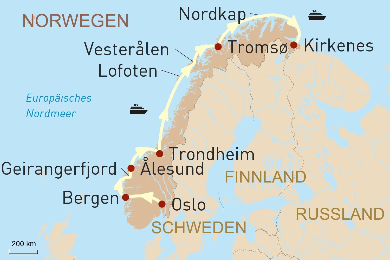 Karte Norwegen Hurtigruten.Hurtigruten Land Der Mitternachtssonne
