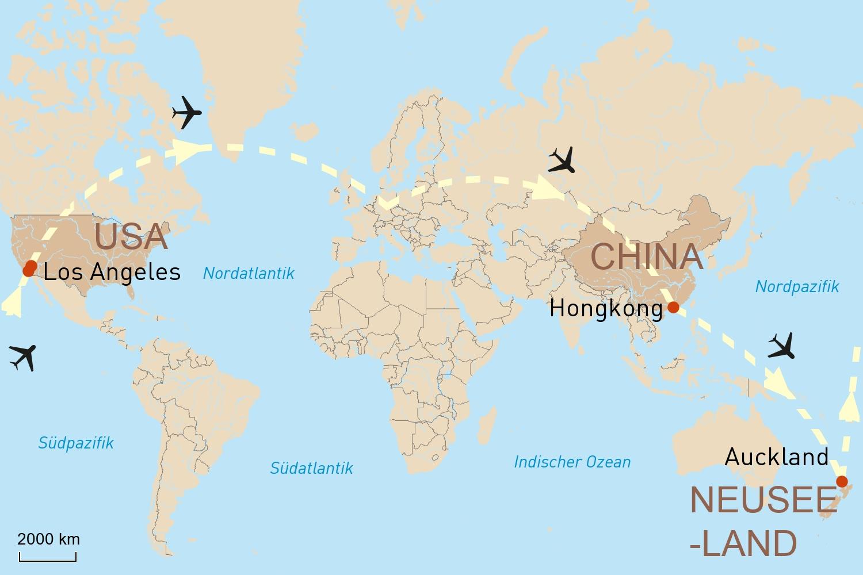 In 28 Tagen um die Welt - Hongkong, Neuseeland, Los Angeles
