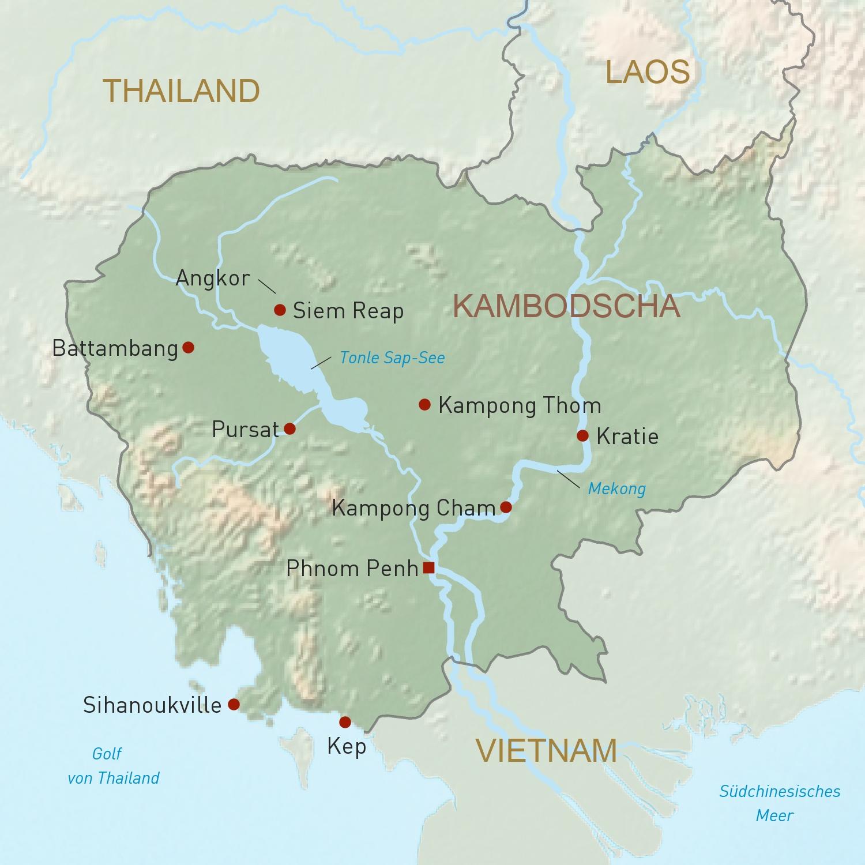 Kambodscha Karte.Kambodscha Reisen Individuell Geoplan Privatreisen