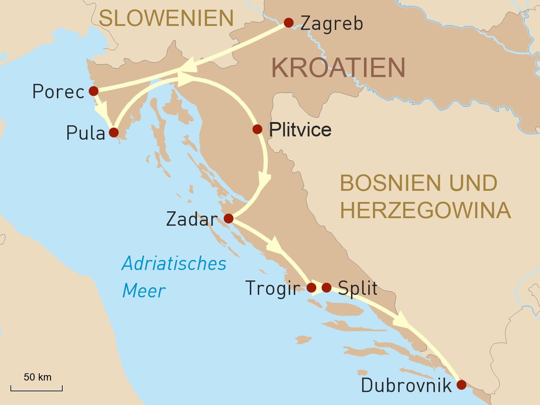 Höhepunkte Kroatiens und Baden an der Adria
