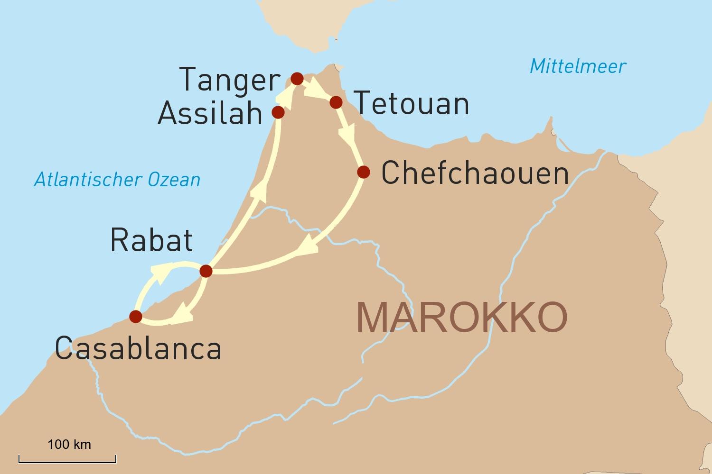 Reise in Marokkos Norden: vom Atlantik bis in die Berge