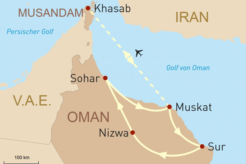 Mietwagentour. Facettenreiches Sultanat Oman