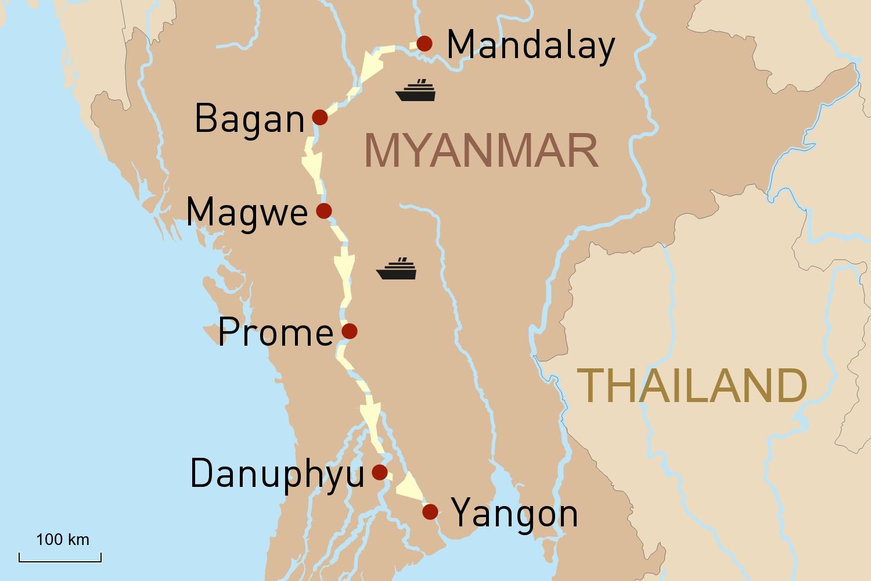 Flusskreuzfahrt in Myanmar auf der RV Pandaw: Von Mandalay nach Yangon