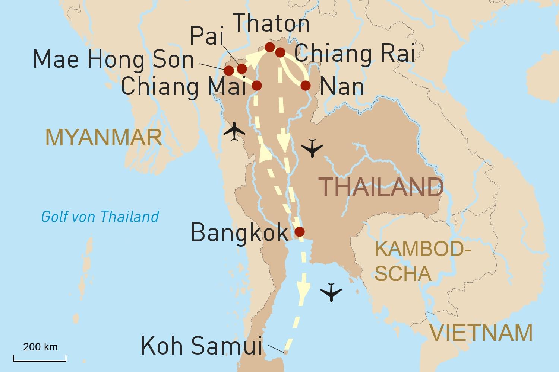 Motorradtour durch Nordthailand und Baden auf Koh Samui
