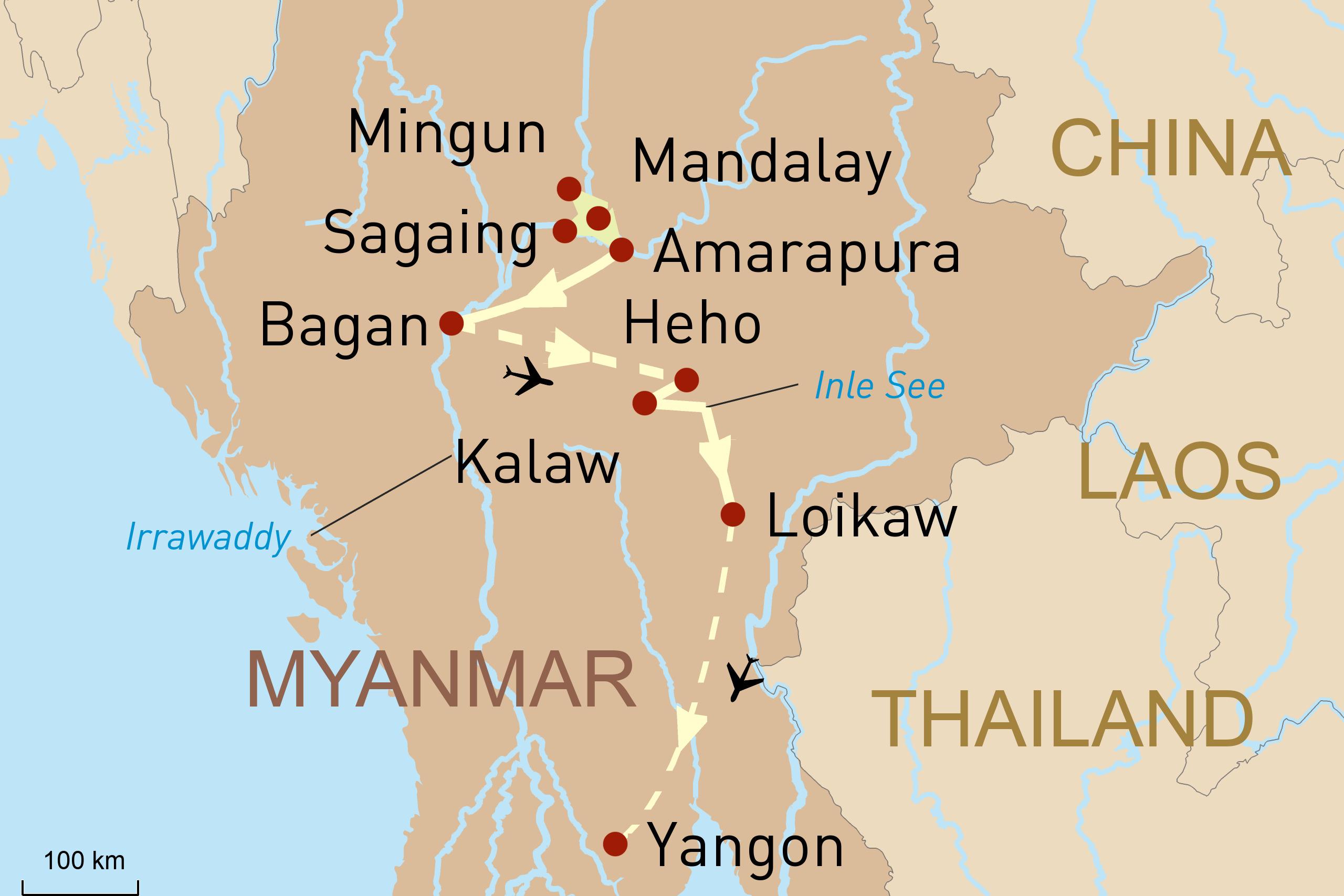 Landkarte für Myanmar aktiv erleben