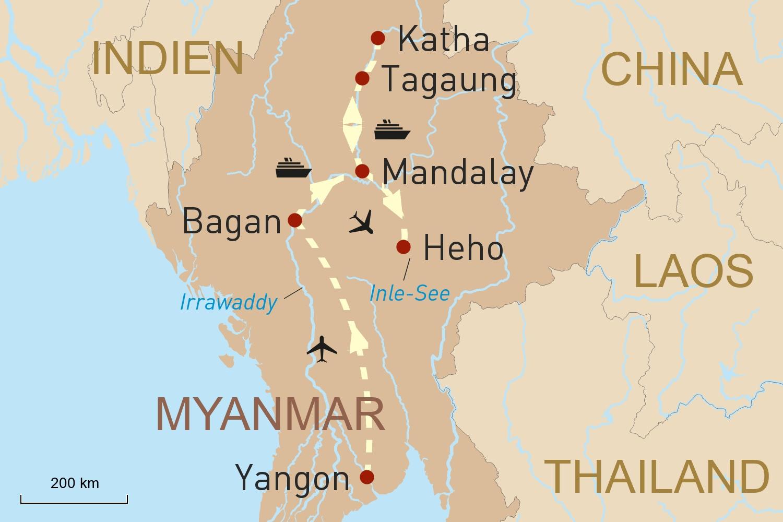 Myanmars Höhepunkte und der obere Irrawaddy