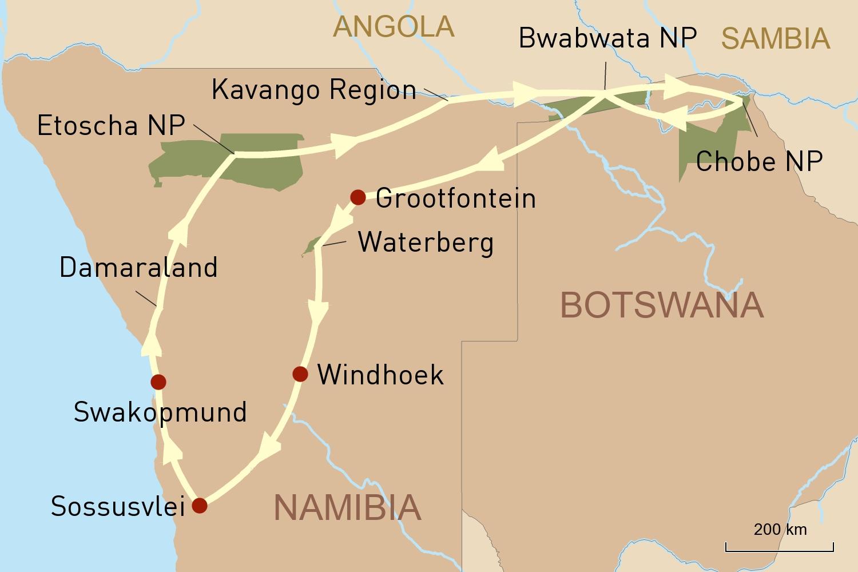 Namibia und Botswana per Mietwagen entdecken