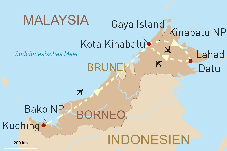 Malaysia Reise: Naturerlebnis Borneo und Baden auf Gaya Island