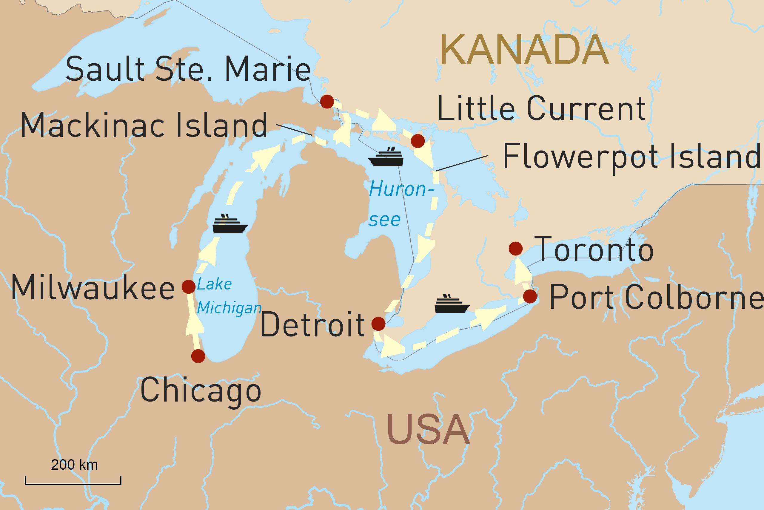 Nordamerikas Great Lakes Region