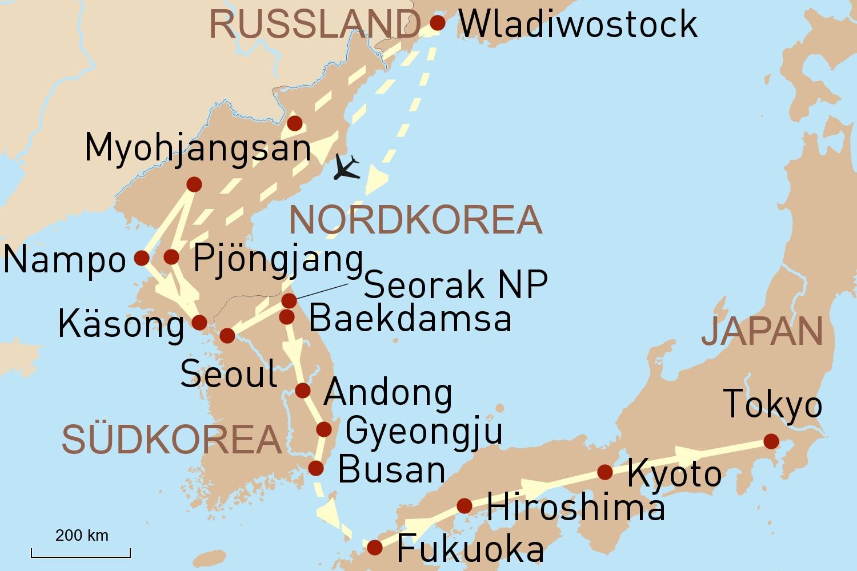 Nordkorea, Südkorea und Japan als Privatreise