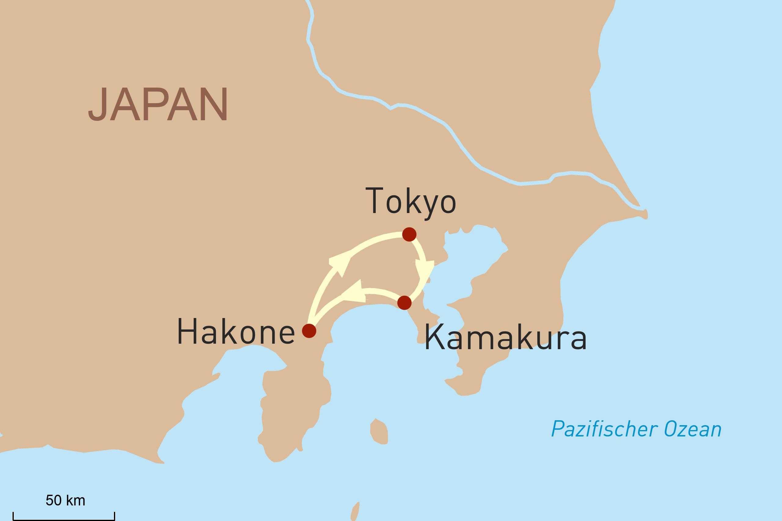 Landkarte für Drei perfekte Tage in Japans Metropole Tokyo