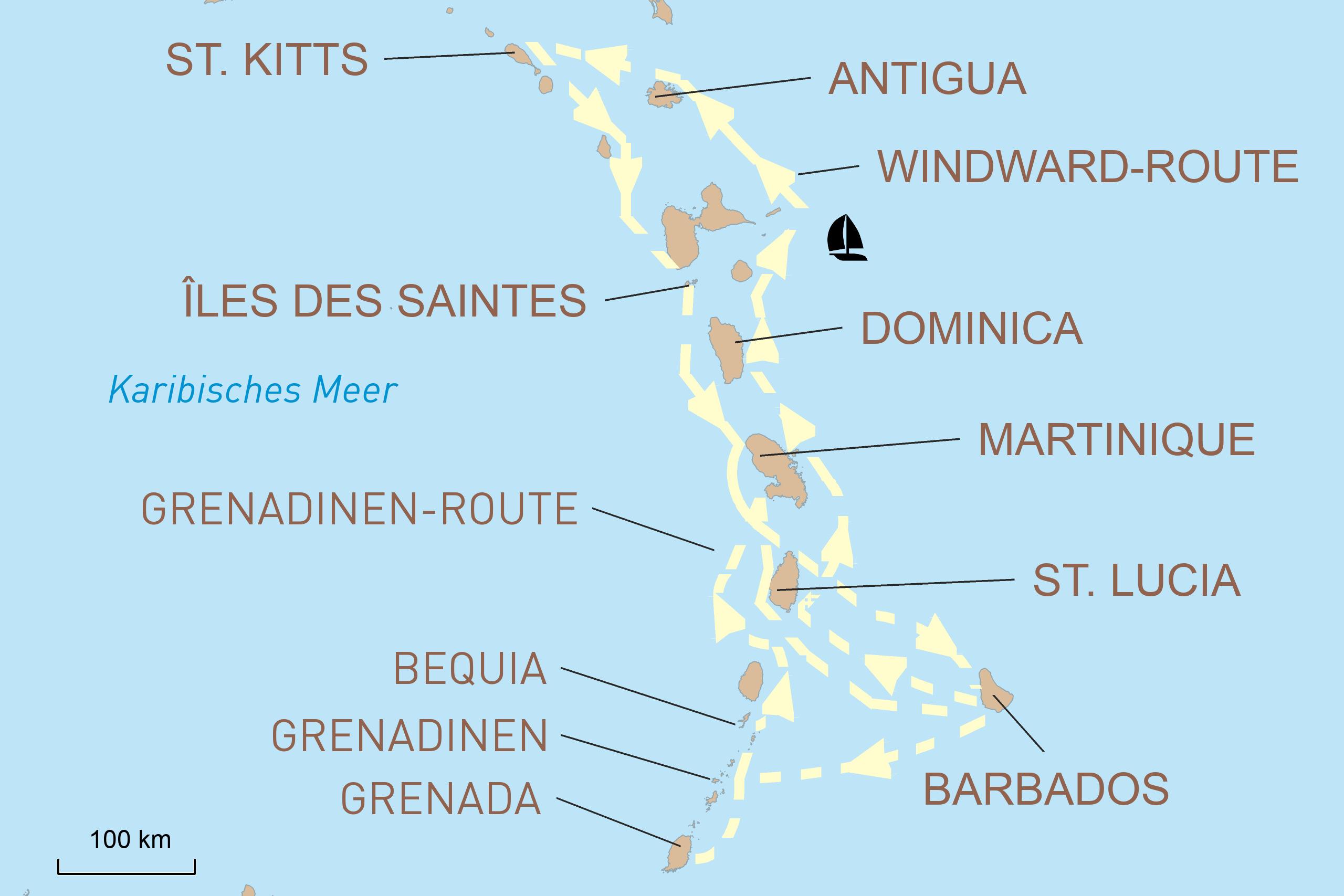 Segeln in der Karibik: Windward- oder Grenadinen-Inseln
