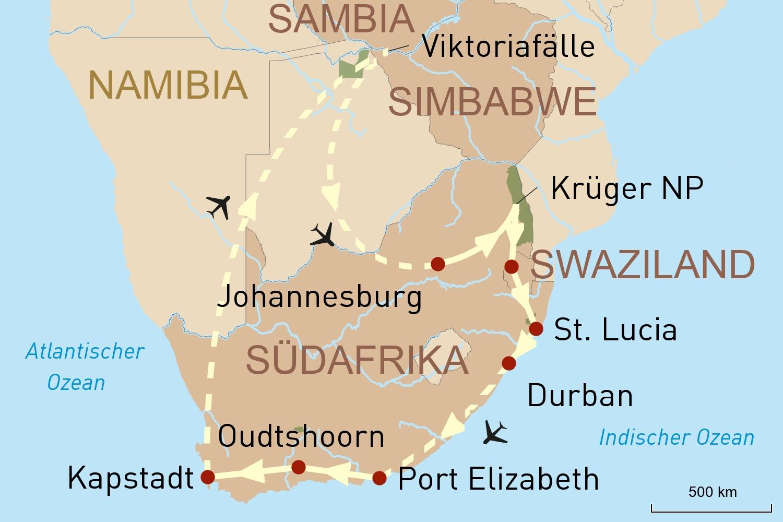 Südafrika und die Viktoriafälle entdecken