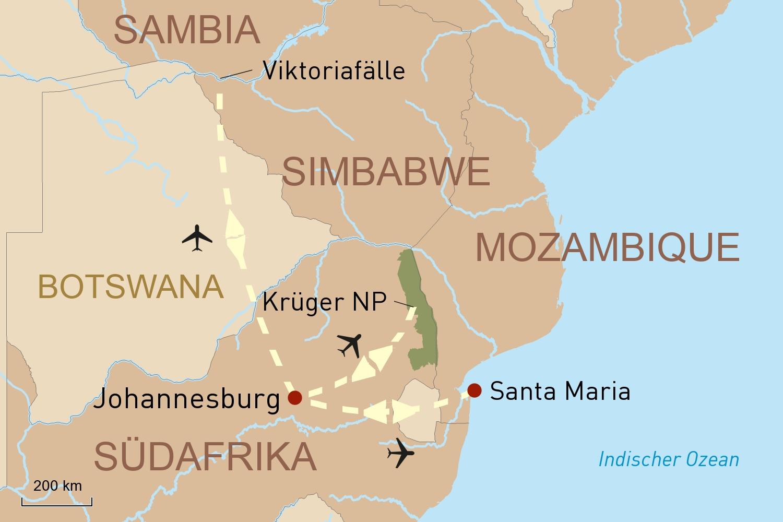 Afrika Reise: Safari, Viktoriafälle und Baden in Mozambique