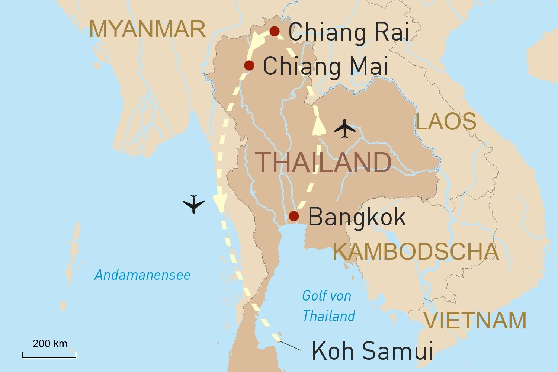 Metropole Bangkok, Kulturerlebnis Nordthailand und Baden auf Koh Samui