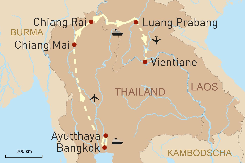 Thailand und Laos Reise vom Wasser aus