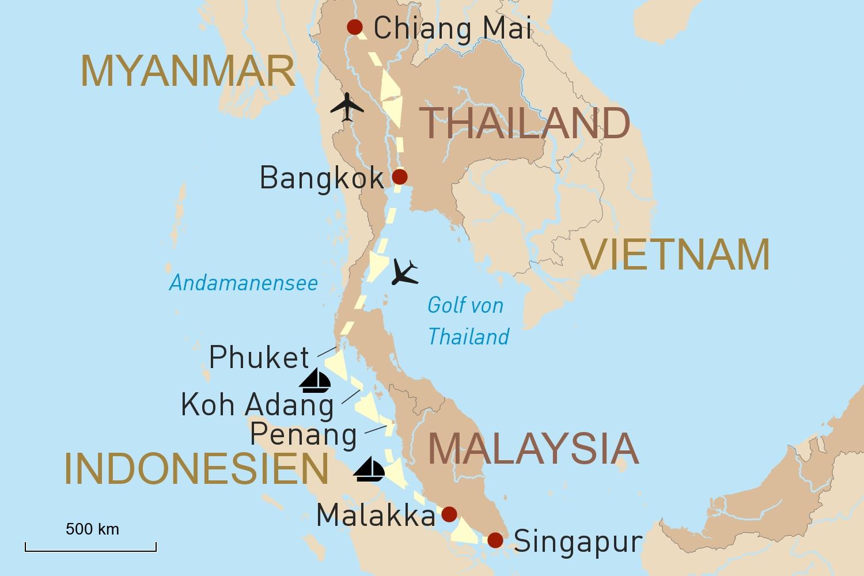 Thailands Norden und Segelkreuzfahrt durch die Andamanensee nach Singapur
