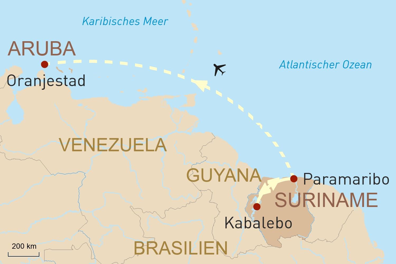 Tropisches Suriname und Karibikinsel Aruba
