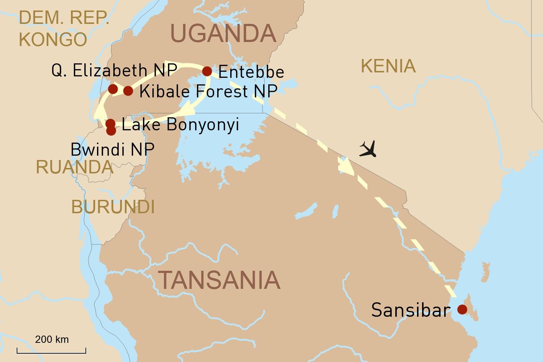 Spektakuläre Natur in Uganda und Entspannung auf Sansibar